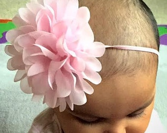 Baby girl headband, Baby Pink Chiffon Flower headband, Baby girl headband, Newborn headband, Infant headband, Toddler headband, Photo Prop