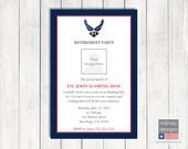 Air Force Retirement Invitation, Military Invitation, Military Retirement Party, Military Printable Invitation