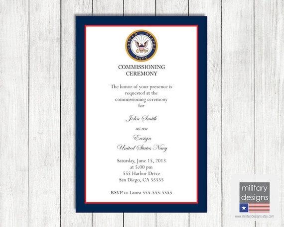 Navy Military Commissioning Ceremony Invitation Printable Us