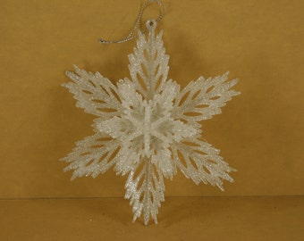 1 WHITE Jagged Flower Double Layer Christmas Ornament 5.5 inches wide