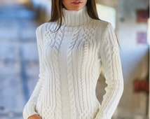 Knitted sweater Warm winter sweater Autumn sweater Woman sweater White sweater Sweater with long sleeve