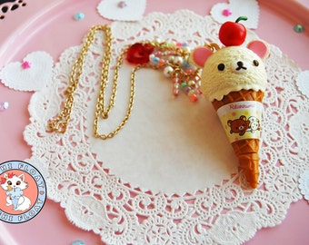 Bear Cherry Ice Cream Cone Necklace