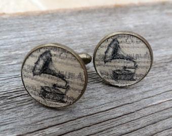 Gramophone Cufflinks - Gramophone Cufflinks For Men - Men's Jewelry - Men's Accessories - Gift For Men's - Groomsman Gift