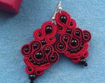 Little Red Soutache Earrings
