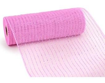 "10"" Pink Deco Mesh, Pink Metallic Deco Mesh, Pink Deco Poly Mesh, Wreath Supplies - (10 YARDS)"