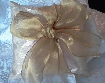 Gold lame Wedding ring pillow gold ribbon bow