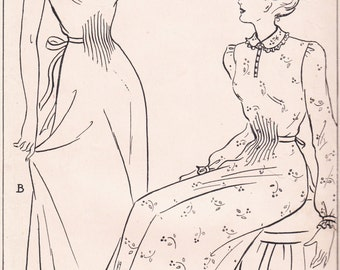 """Style -  1940's or 50's Sewing Pattern -  Size Bust 34"""" Women's and Misses Nightdresses 2 styles"""