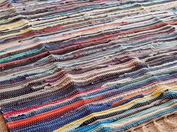 Large Rag Rug Colorful Scraps 6 Area Rug By