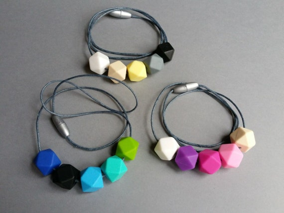 Geometric Teething Necklace made with BPA Free Non-Toxic Silicone