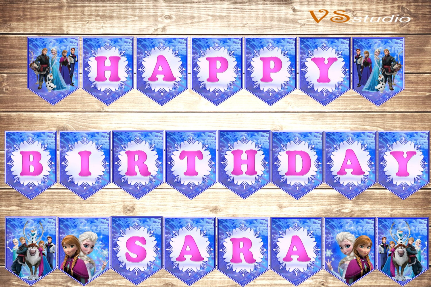 frozen happy birthday banner personalized printable happy