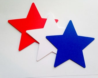 """60 Red, White Blue Star Decorations - 4"""" Star Die Cuts - July 4, 4th of July, Patriotic Veteran Star Cutouts - Star Tags - Blank Tags"""