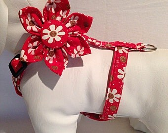 Dog Harness with Flower or Bow Tie- Pick Any Fabric in Shop