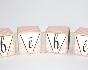 Shabby Chic Wooden Baby Blocks - Bebe - Light Pink Nursery - 2 Inch Wooden Blocks - All Hard Wood
