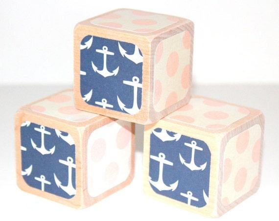 Nautical Baby Blocks Pink and Navy Children's Wooden