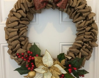 Holiday Burlap Ribbon Wreath; Shabby Chic Christmas Wreath ; Classic Poinsettia Wreath ; Red Green Winter Wreath ; Hostess Gift