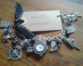 Pirate inspired Charm Bracelet Watch