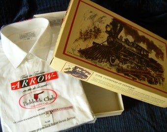 "Vintage ARROW Shirt in CANADIAN PACIFIC Railway box #3 ""Canadian Locomotives Series""  Convertible cuffs . Shirt available separately."