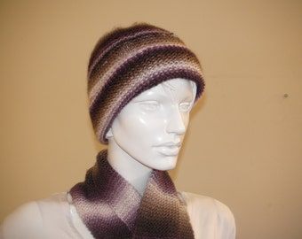 Hat and Scarf Set.  Colorful Shawl and Hat set.Unisex soft brown purple and white scarf and hat.