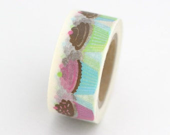 Colorful Pastel Print Cupcake Washi Tape. This is a 15mm x 10 yard roll.