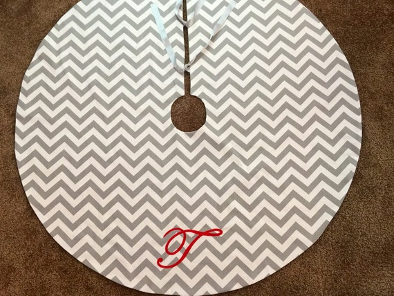 10 DOLLARS OFF Modern Chevron Christmas Tree Skirt with Monogram for Holidays Red Green Grey