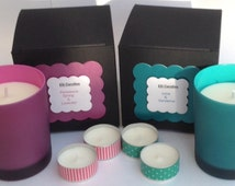 Lovely handmade scented candle gift set in either a pink or green glass jar with matching gift box.