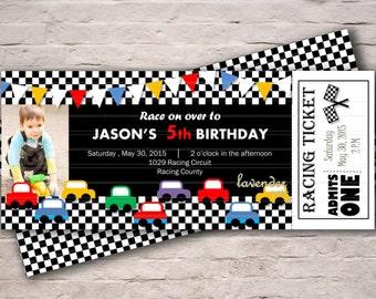 Racing Car Birthday Invitation, Boy 5th Birthday Party Invite, Racing Car Party Invitation, F1 Race Ticket, Printable Digital Car Invitation
