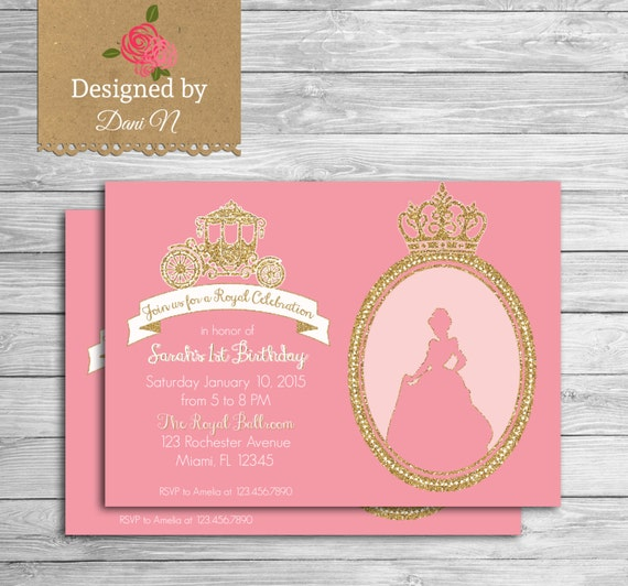 Princess Birthday Invitation Glitter Pink Cinderella
