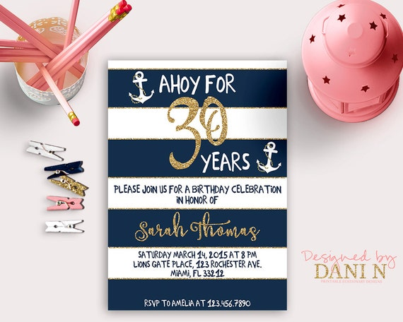 nautical birthday invitation th gold glitter by designedbydanin, Birthday invitations