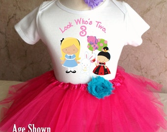 Fast Shipping - Birthday Alice in Wonderland Queen of Hearts Cat 3rd Third age Three 3 Shirt & Tutu Set Girl Outfit Party 2t 3t 4t