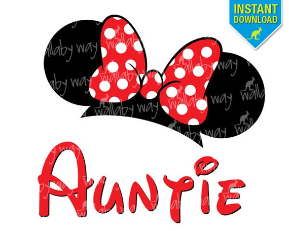 disney minnie ears auntie printable iron on transfer or use as Cut Outs Printable Minnie Mouse Minnie Mouse Bow Clip Art
