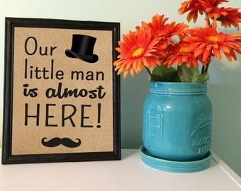 "Baby shower sign little man mustache 8"" x 10 INSTANT DOWNLOAD"
