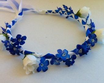 Communion Head Wreath Crown - Rosebud & Gypso Bridal Bridesmaid Flower Floral Ribbon Halo Head Piece Blue Cobalt Royal Garland C-Margaret