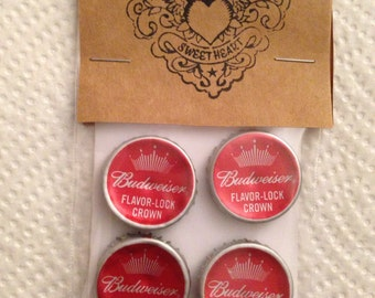 Beer Bottle Cap Magnets - Budweiser Beer Bottle Caps // Upcycled Recycled Repurposed