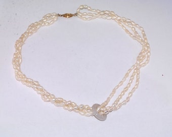 Three strand japanese freshwater pearl necklace gold filled clasp
