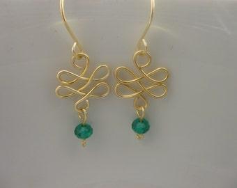 Emerald crystal Drop Earings.