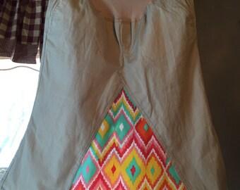 Khaki and Chevron Maternity Skirt, size 8
