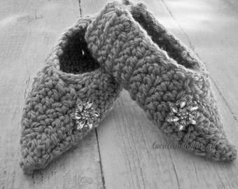 Crochet Slippers Vintage Style Pump Retro Stiletto Women's Crochet Slippers Wedding Slipper With Rhinestone Accent