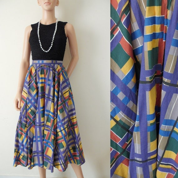 Colourful graphic patterned full gathered midi skirt vintage