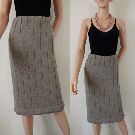 light brown stretch wool winter skirt taupe fawn ribbed tight