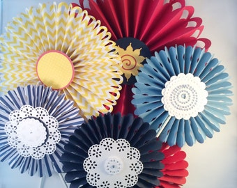 Summer party rosettes - red, blue and yellow