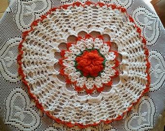 Vintage Orange and White Doily