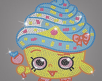 SHOPKINS Cupcake Queen ~ Rhinestone Iron On Transfer Applique or Shirt 2T to X-large