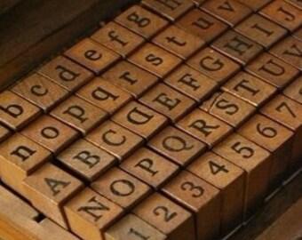 Alphabet Stamp Set - Wooden Rubber Stamps -  upper case&lower case Letter Stamps  -number Stamps-70 pcs