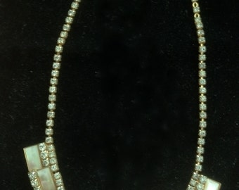 1930's -1940's Gold Vermeil /Mother of Pearl/ Pronged Rhinestone's/ Egyptian Revival Necklace.
