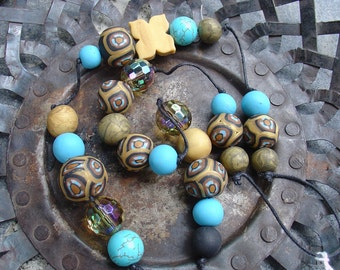 Necklace handmade polymer clay turquoise and gold
