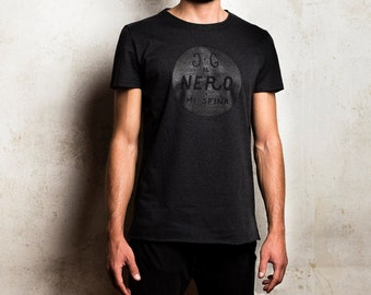 "Men's t-shirt ""Black sfina me""-handmade-100% cotton"