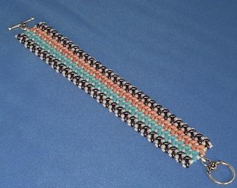 Hand Woven 6.5 X 1 inch Knit Duo Weave Cuff Bracelet