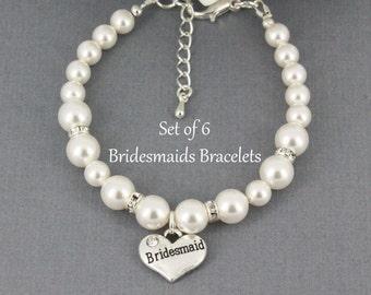 Set of 6 Bridesmaid Bracelet Swarovski Pearl Bracelet Bridal Party Jewelry Bridesmaid Gifts for Bridesmaids Bracelets Swarovski Bracelet