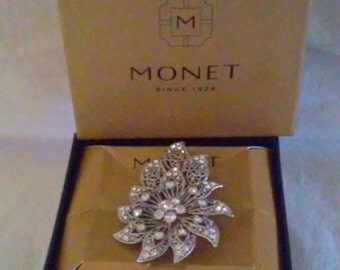 Vintage Large Boxed Monet Filigree & Rhinestone Floral Bouquet Brooch Pin