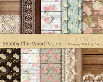 "Shabby Chic Wood Digital Papers. ""ROSES AND WOOD"". Lace Digital Papers. Wedding, Cottage. 10 images, 300 Dpi. Jpg files. Instant Download."